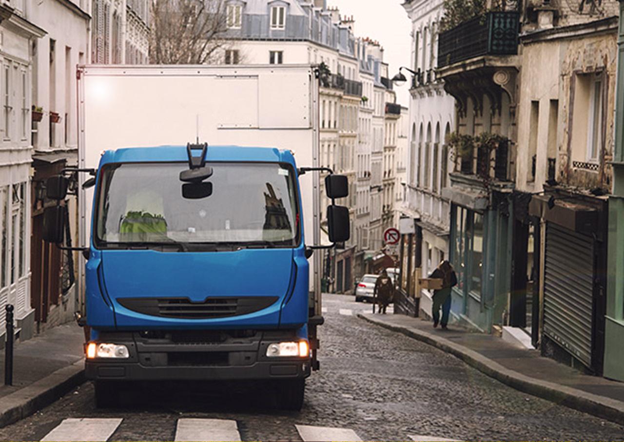 Camion au gaz en centre ville